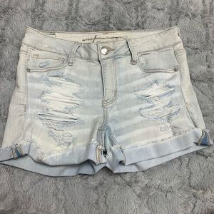 American Eagle destroyed and ripped jean shorts